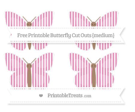 Free Pastel Bubblegum Pink Thin Striped Pattern Medium Butterfly Cut Outs