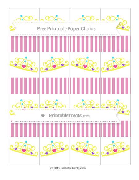 Free Pastel Bubblegum Pink Thin Striped Pattern Princess Tiara Paper Chains