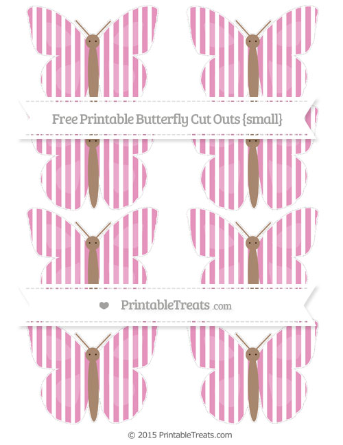 Free Pastel Bubblegum Pink Thin Striped Pattern Small Butterfly Cut Outs