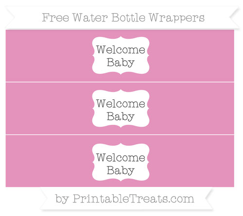 Free Pastel Bubblegum Pink Welcome Baby Water Bottle Wrappers