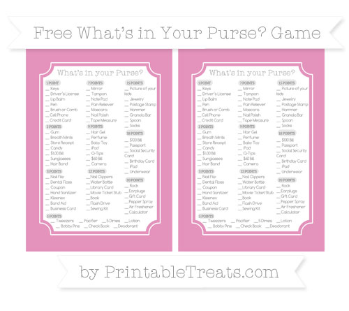 Free Pastel Bubblegum Pink What's in Your Purse Baby Shower Game