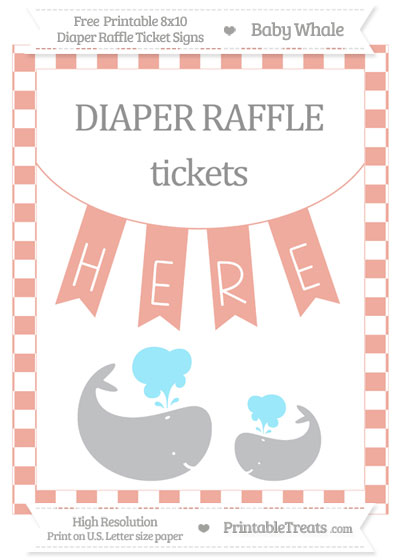 Free Pastel Coral Checker Pattern Baby Whale 8x10 Diaper Raffle Ticket Sign