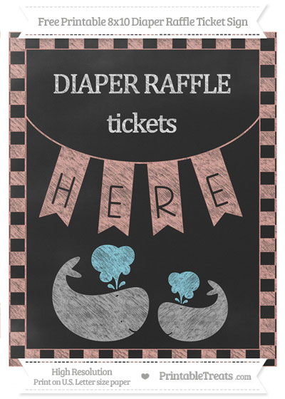 Free Pastel Coral Checker Pattern Chalk Style Baby Whale 8x10 Diaper Raffle Ticket Sign