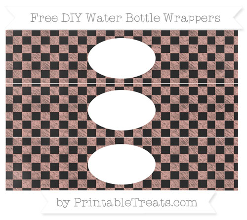 Free Pastel Coral Checker Pattern Chalk Style DIY Water Bottle Wrappers