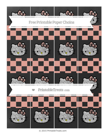Free Pastel Coral Checker Pattern Chalk Style Hello Kitty Paper Chains