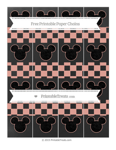 Free Pastel Coral Checker Pattern Chalk Style Mickey Mouse Paper Chains