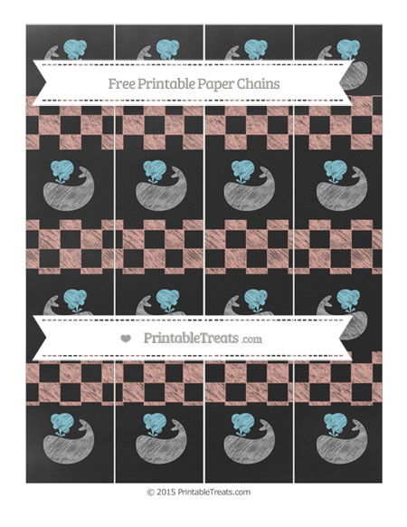 Free Pastel Coral Checker Pattern Chalk Style Whale Paper Chains