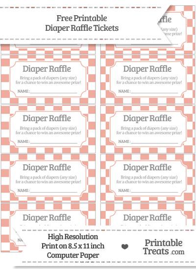 Free Pastel Coral Checker Pattern Diaper Raffle Tickets