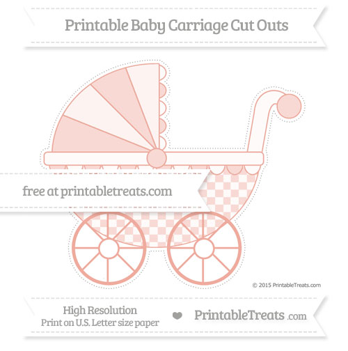 Free Pastel Coral Checker Pattern Extra Large Baby Carriage Cut Outs