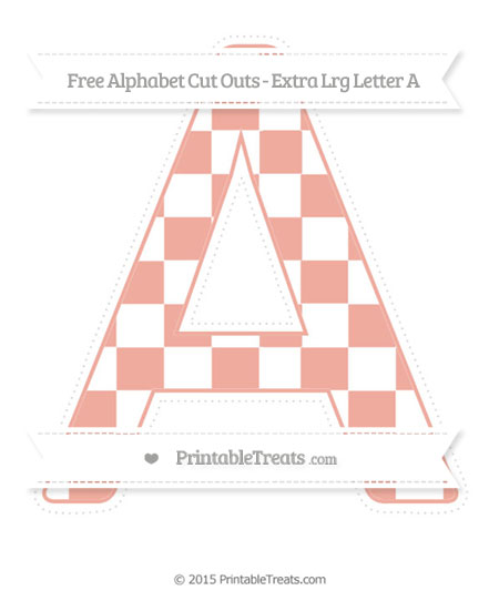 Free Pastel Coral Checker Pattern Extra Large Capital Letter A Cut Outs