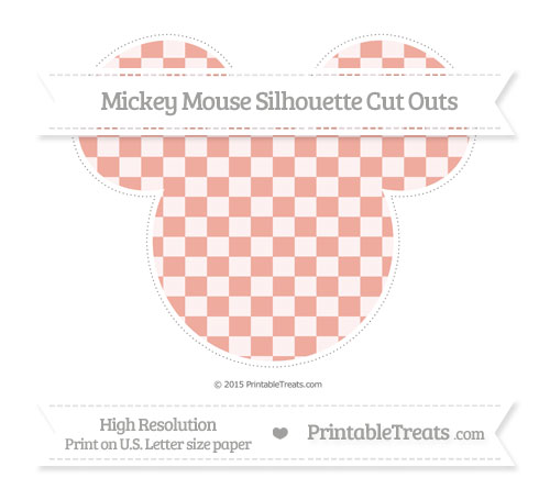 Free Pastel Coral Checker Pattern Extra Large Mickey Mouse Silhouette Cut Outs