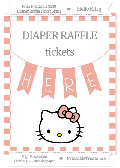 Free Pastel Coral Checker Pattern Hello Kitty 8x10 Diaper Raffle Ticket Sign