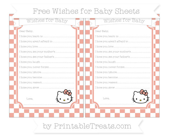 Free Pastel Coral Checker Pattern Hello Kitty Wishes for Baby Sheets