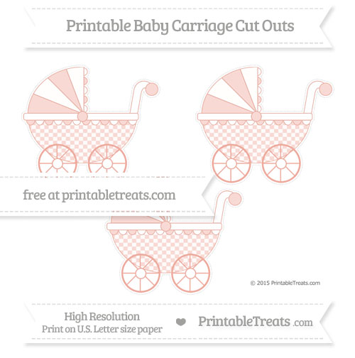 Free Pastel Coral Checker Pattern Medium Baby Carriage Cut Outs