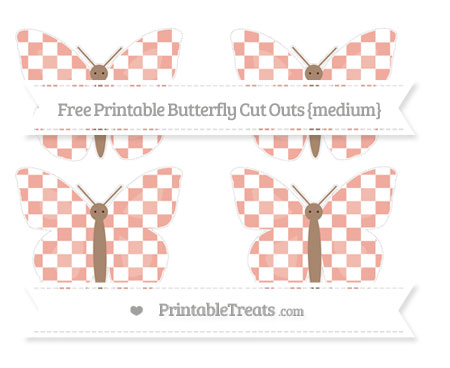 Free Pastel Coral Checker Pattern Medium Butterfly Cut Outs