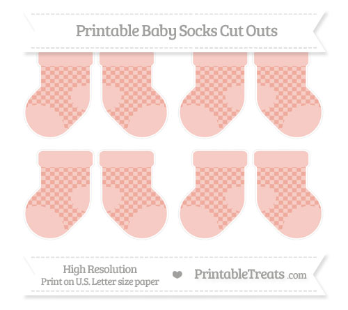 Free Pastel Coral Checker Pattern Small Baby Socks Cut Outs