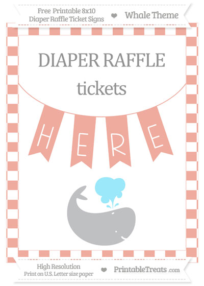 Free Pastel Coral Checker Pattern Whale 8x10 Diaper Raffle Ticket Sign