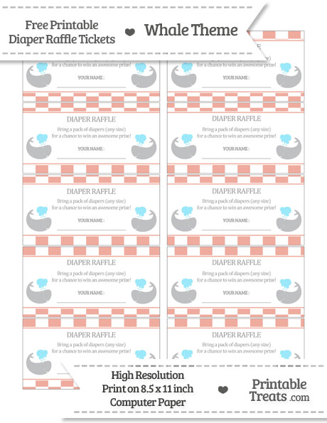 Free Pastel Coral Checker Pattern Whale Diaper Raffle Tickets