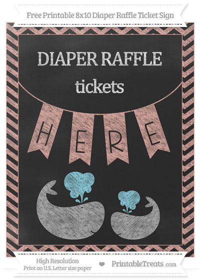 Free Pastel Coral Chevron Chalk Style Baby Whale 8x10 Diaper Raffle Ticket Sign
