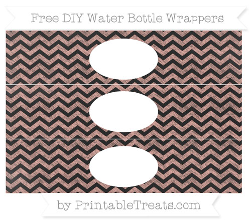 Free Pastel Coral Chevron Chalk Style DIY Water Bottle Wrappers