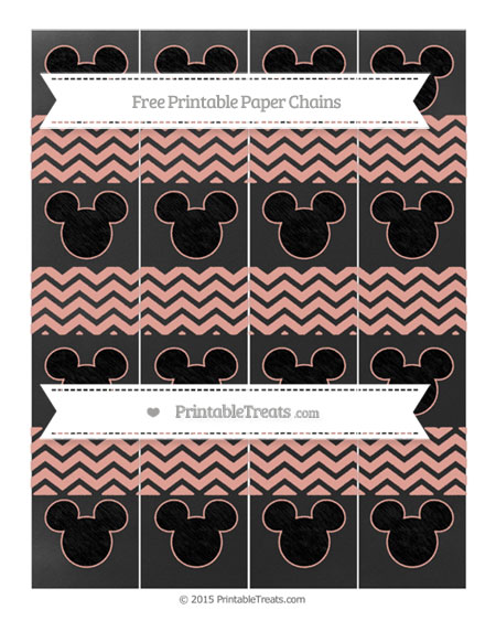 Free Pastel Coral Chevron Chalk Style Mickey Mouse Paper Chains
