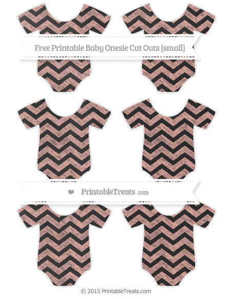 Free Pastel Coral Chevron Chalk Style Small Baby Onesie Cut Outs
