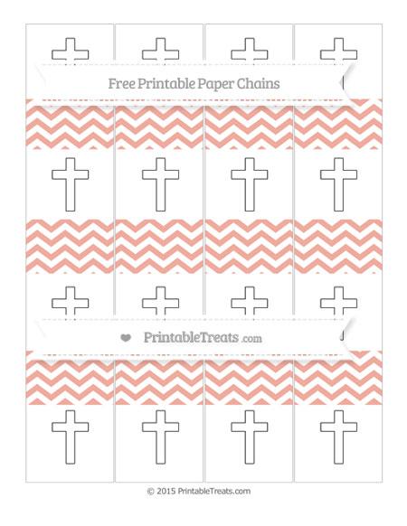 Free Pastel Coral Chevron Cross Paper Chains