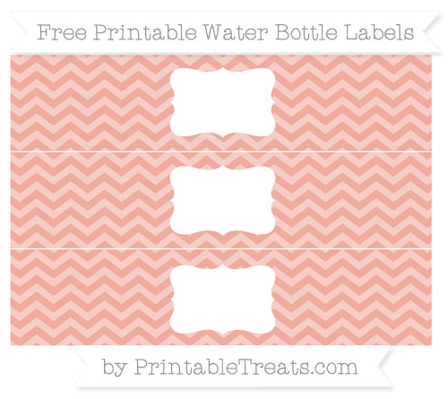Free Pastel Coral Chevron Water Bottle Labels