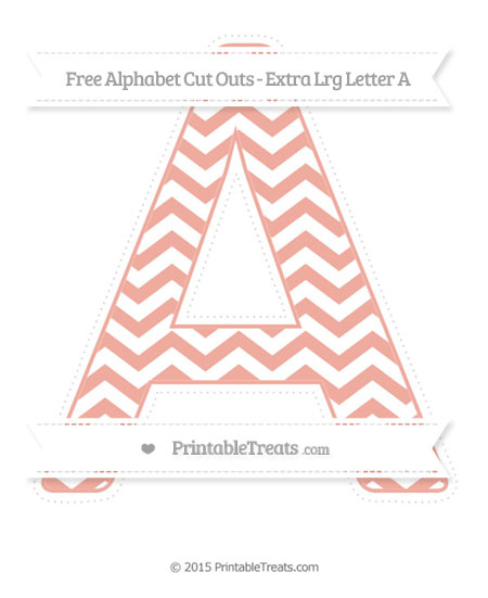 Free Pastel Coral Chevron Extra Large Capital Letter A Cut Outs