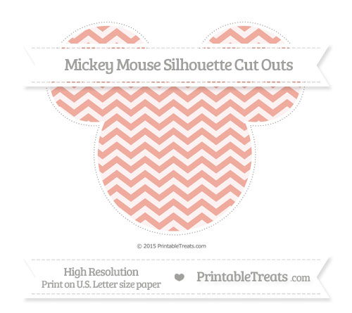 Free Pastel Coral Chevron Extra Large Mickey Mouse Silhouette Cut Outs