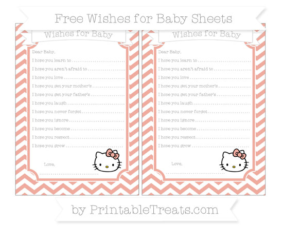 Free Pastel Coral Chevron Hello Kitty Wishes for Baby Sheets