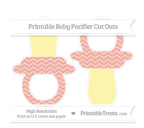 Free Pastel Coral Chevron Large Baby Pacifier Cut Outs