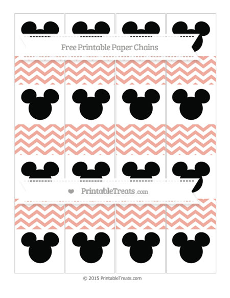 Free Pastel Coral Chevron Mickey Mouse Paper Chains