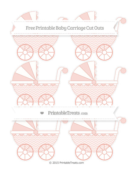 Free Pastel Coral Chevron Small Baby Carriage Cut Outs