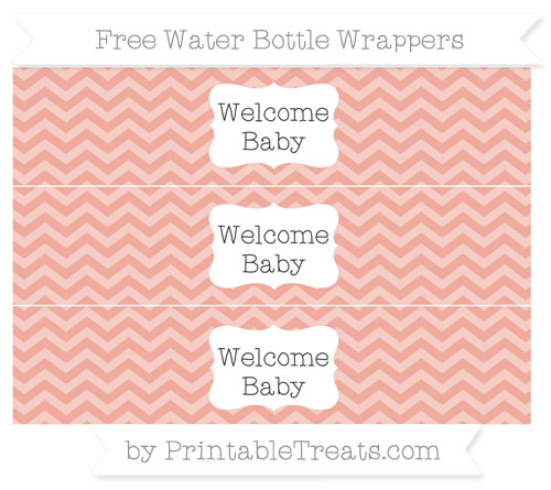 Free Pastel Coral Chevron Welcome Baby Water Bottle Wrappers