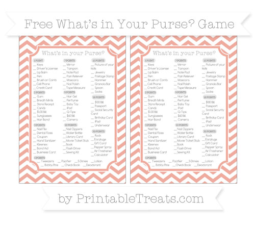 Free Pastel Coral Chevron What's in Your Purse Baby Shower Game