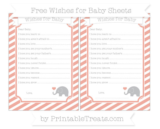 Free Pastel Coral Diagonal Striped Baby Elephant Wishes for Baby Sheets