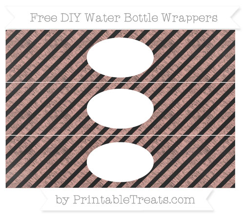 Free Pastel Coral Diagonal Striped Chalk Style DIY Water Bottle Wrappers