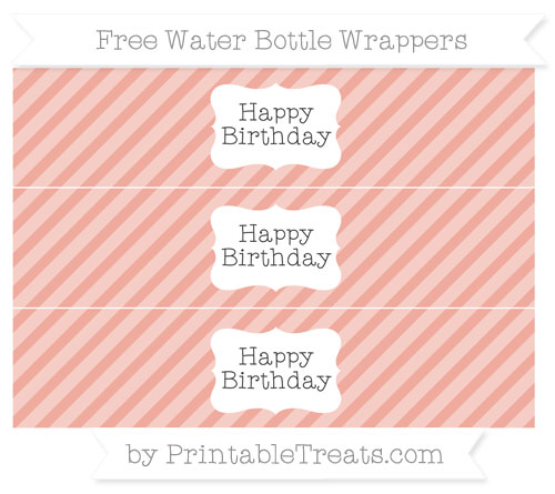 Free Pastel Coral Diagonal Striped Happy Birhtday Water Bottle Wrappers