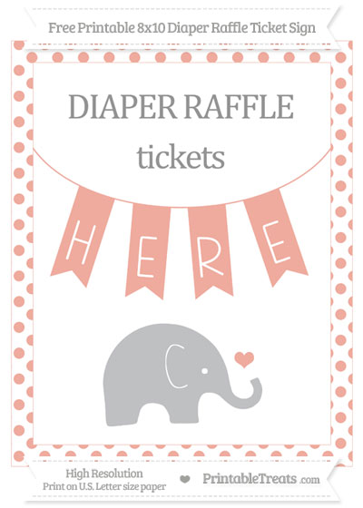 Free Pastel Coral Dotted Baby Elephant 8x10 Diaper Raffle Ticket Sign