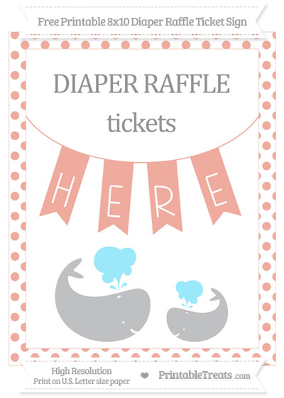 Free Pastel Coral Dotted Baby Whale 8x10 Diaper Raffle Ticket Sign