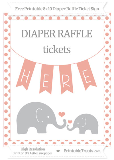 Free Pastel Coral Dotted Elephant 8x10 Diaper Raffle Ticket Sign