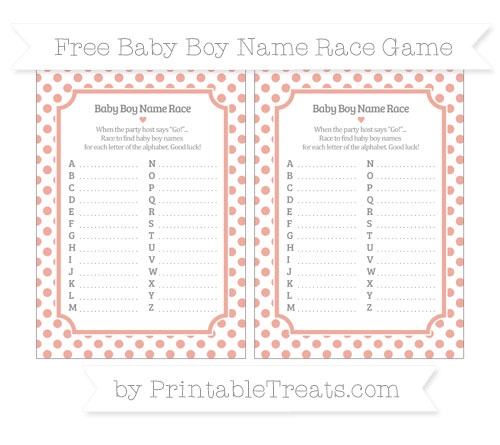 Free Pastel Coral Dotted Pattern Baby Boy Name Race Game