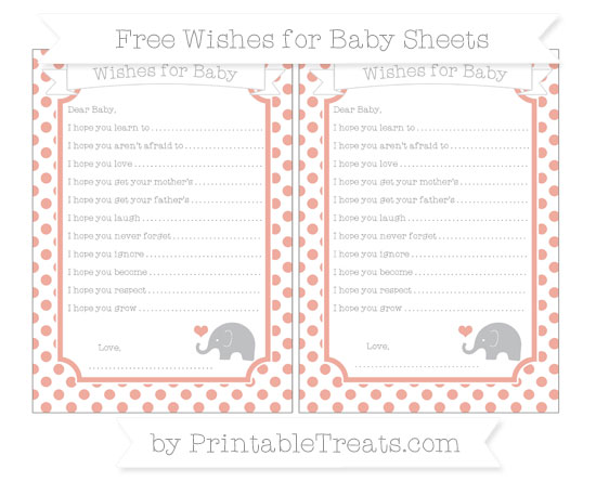 Free Pastel Coral Dotted Pattern Baby Elephant Wishes for Baby Sheets