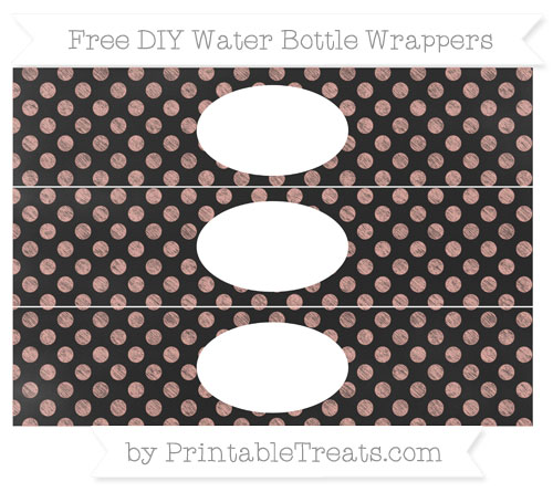 Free Pastel Coral Dotted Pattern Chalk Style DIY Water Bottle Wrappers