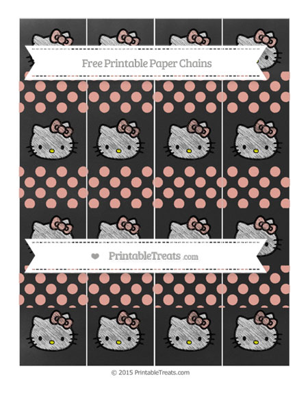 Free Pastel Coral Dotted Pattern Chalk Style Hello Kitty Paper Chains