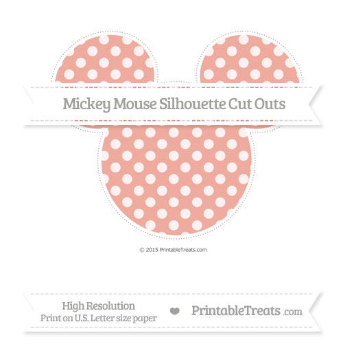 Free Pastel Coral Dotted Pattern Extra Large Mickey Mouse Silhouette Cut Outs