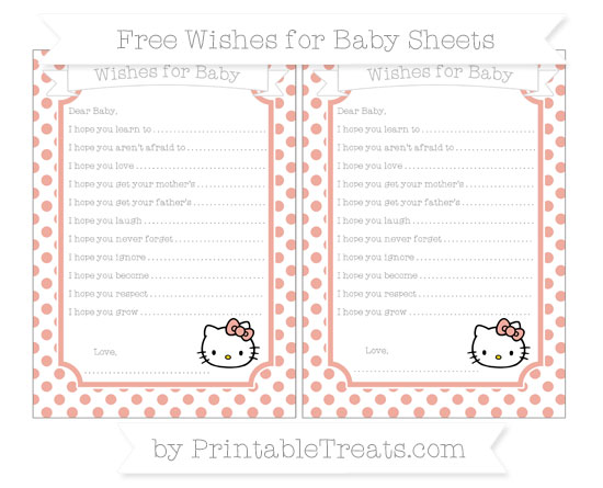 Free Pastel Coral Dotted Pattern Hello Kitty Wishes for Baby Sheets