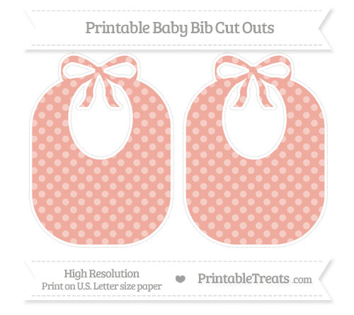 Free Pastel Coral Dotted Pattern Large Baby Bib Cut Outs