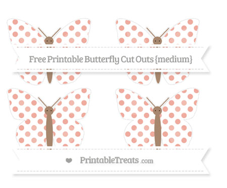 Free Pastel Coral Dotted Pattern Medium Butterfly Cut Outs
